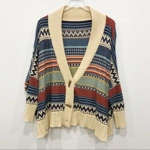 Sweaters - Fair Isle Pattern Poncho Oversized Toggle Buttons